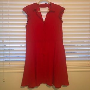 DEX Red Button-Down Fit & Flare Dress